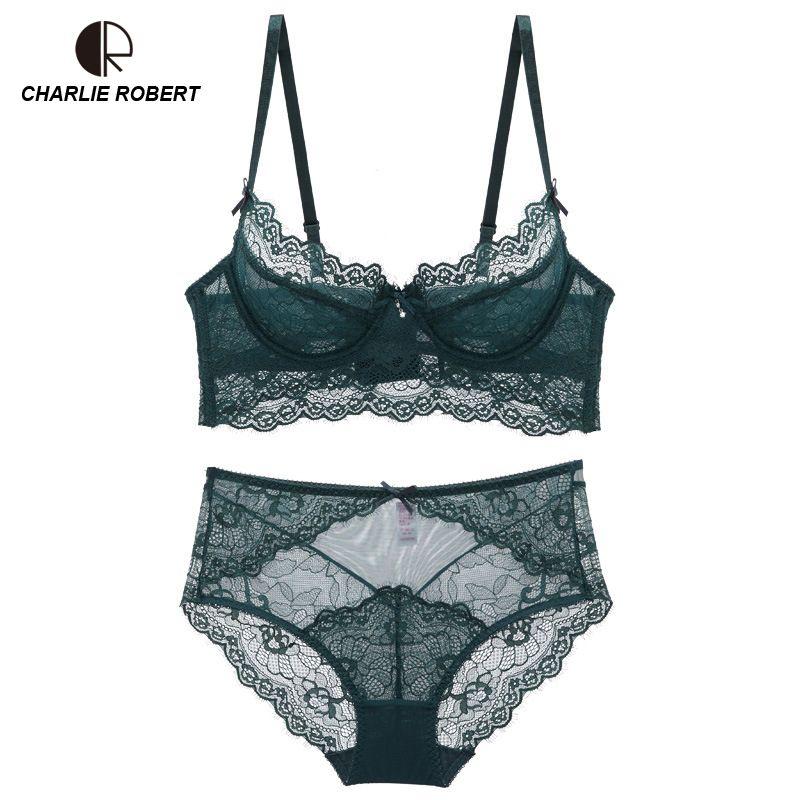 d0a986ee98 2018 Ultrathin Lingerie Set Plus Size Bras A B C D Cup High Waist Sexy Lace  Bra Set Transparent Women Underwear Black Embroidery Bow From Cute08