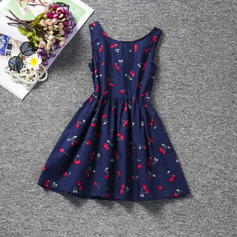 Aini Babe Blumendruck Mädchen Kleid A-line 2017 Marke Baby Kind Kinder Kleidung Sleeveless Kinder Kleidung Für Mädchen Urlaub Party