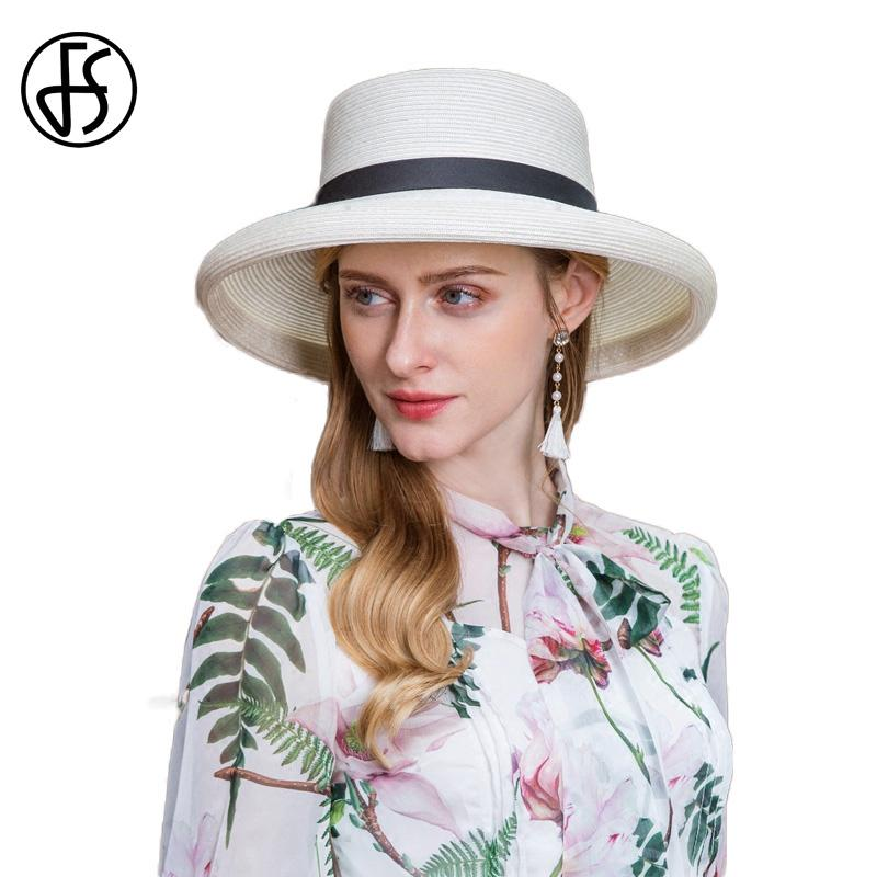 FS Summer Hats 2018 New Fashion Sun Hat With Bowknot Women Beach White Wide  Brim Straw Boater Outdoor Visor Cap Chapeu Feminino Panama Hat Trilby From  ... 7d93b9be628