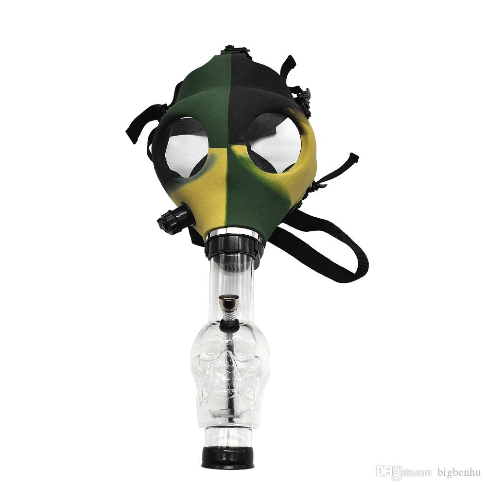 Silicon Mash Creative Acrylic Smoking Pipe Gas Mask Pipes Acrylic Bongs Tabacco Shisha Water Pipe