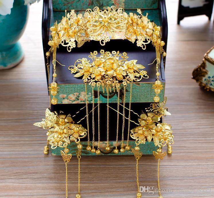 Çin gelin headdress kostüm saç püskül düğün gösterisi giyim aksesuarları wo