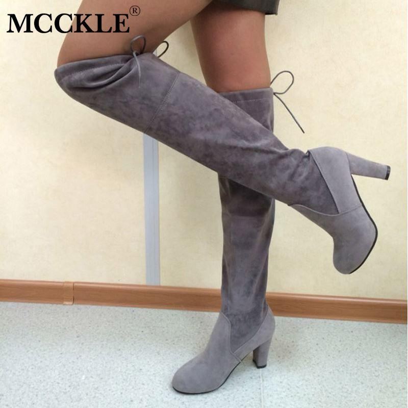 3d8a18244 Female Plus Size Thigh High Boots Women Faux Suede Leather High Heels Over  The Knee Botas Mujer Shoes Autumn Pumps 34 43 Grey Boots Brown Ankle Boots  From ...