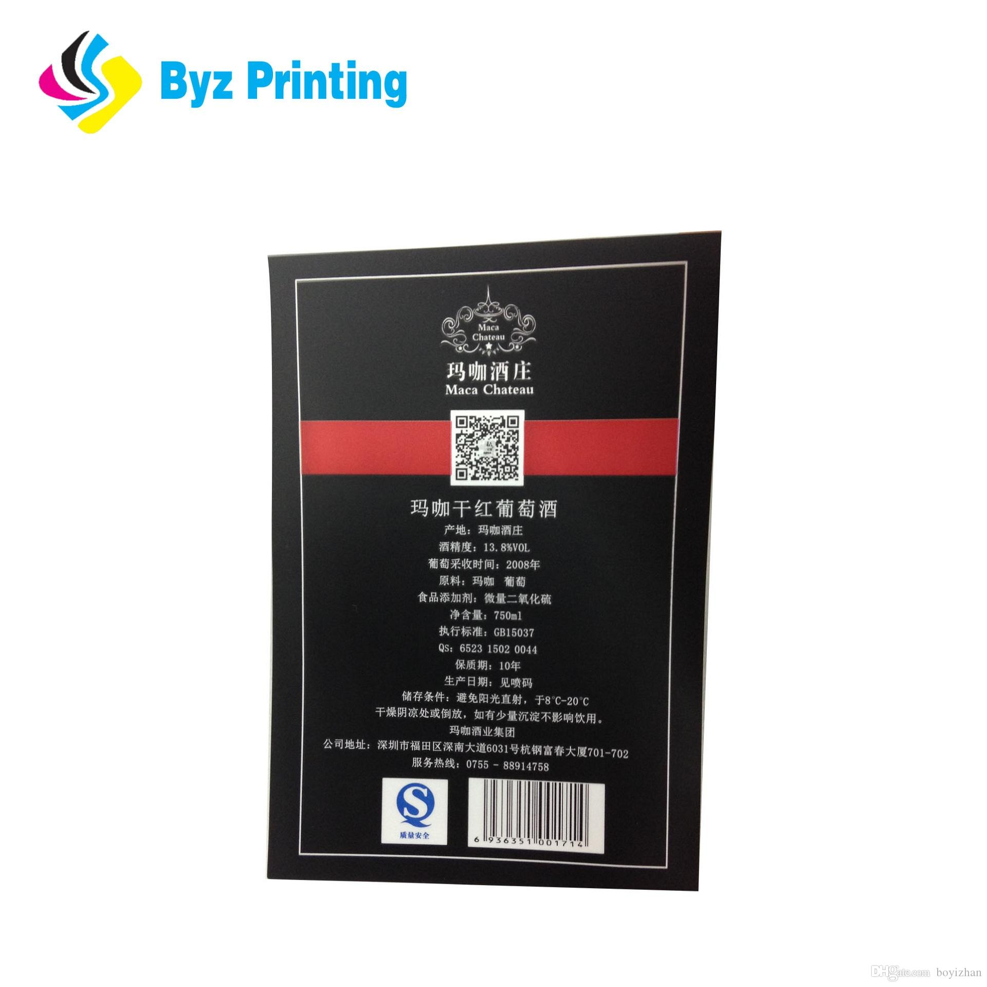 Factory directly price custom adhesive wine stickers printing labels roll with matte surface lamination