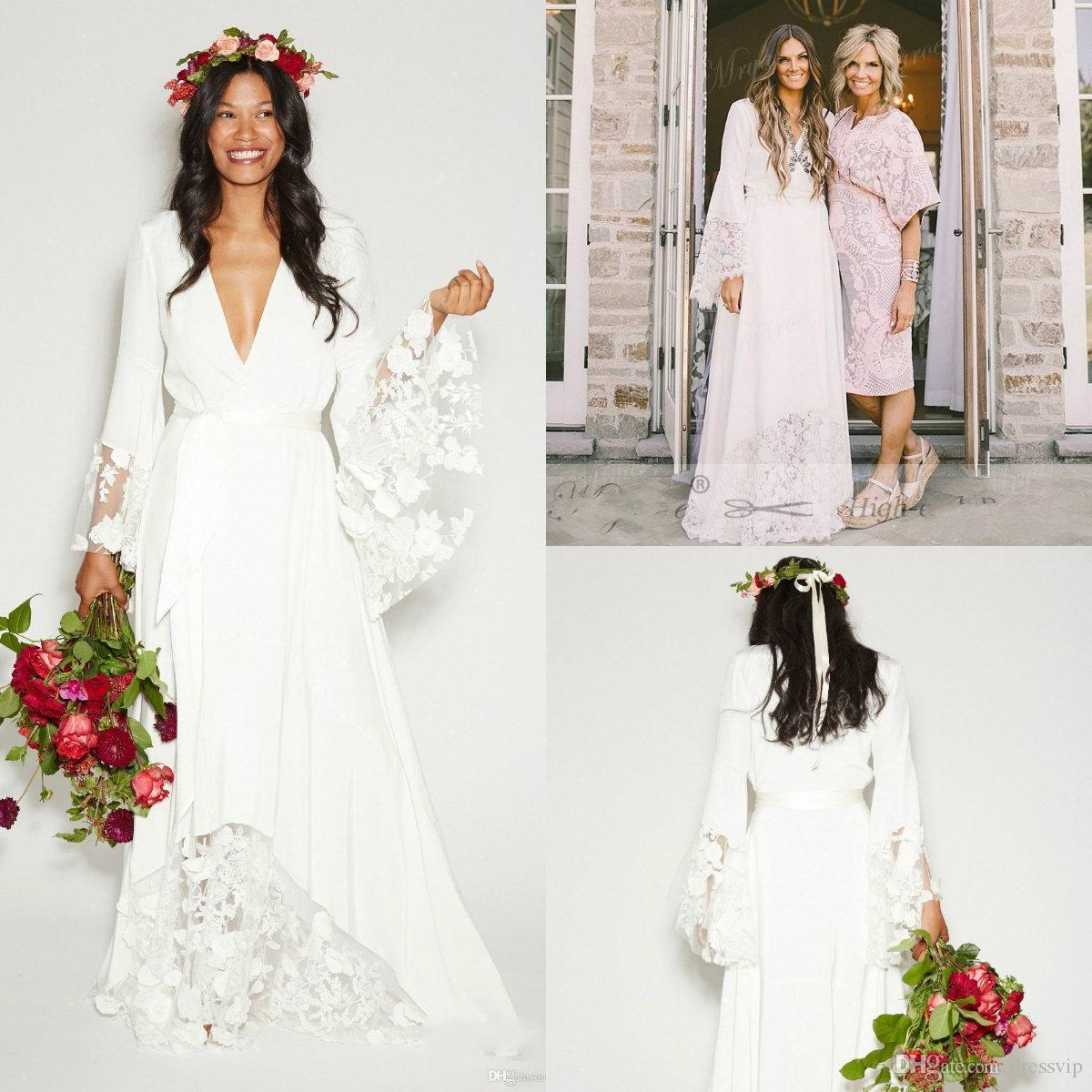 Discount 2018 Boho Beach Wedding Dresses Bohemian Long Bell Sleeve Lace  Flower Bridal Gowns Plus Size Hippie Wedding Dress V Neck Country Bridal  Long ... dd580c2f4ca9