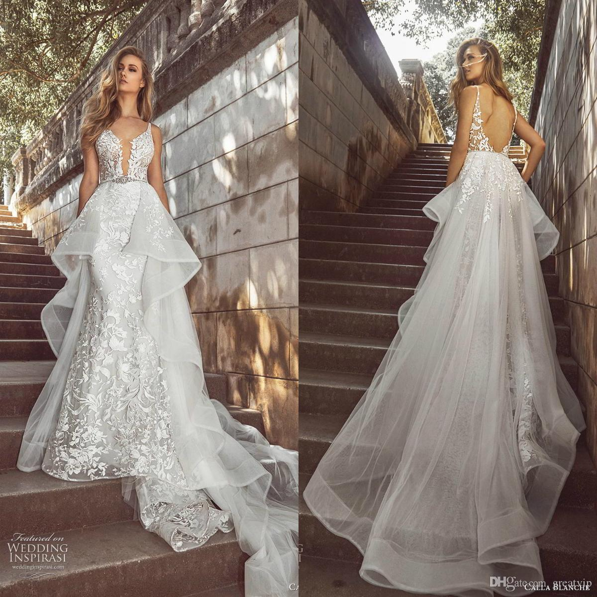 6655ebec5ae1 Calla Blanche 2019 Mermaid Wedding Dresses Lace Beads Backless Detachable  Ruffle Bridal Gowns Plus Size Vestidos De Noiva Red Wedding Dresses Sexy  Wedding ...
