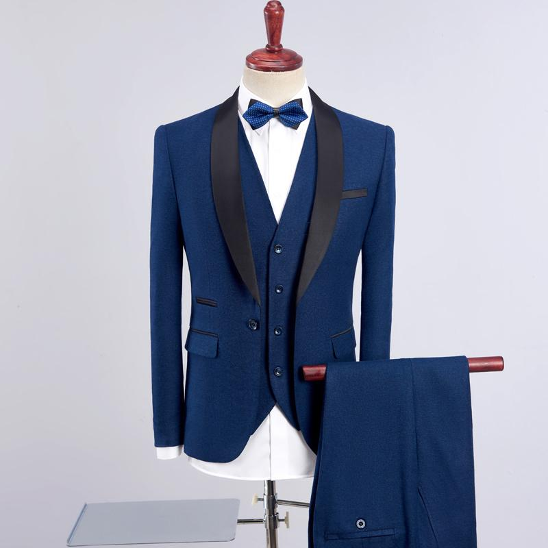 1db1b65a2ec1 POSHAWN Trajes de hombre de 3 piezas 2018 Nueva moda Blazer Masculino  Hombre Trajes de novio de boda Azul / Morado / Negro Elegante Chaqueta de  cena