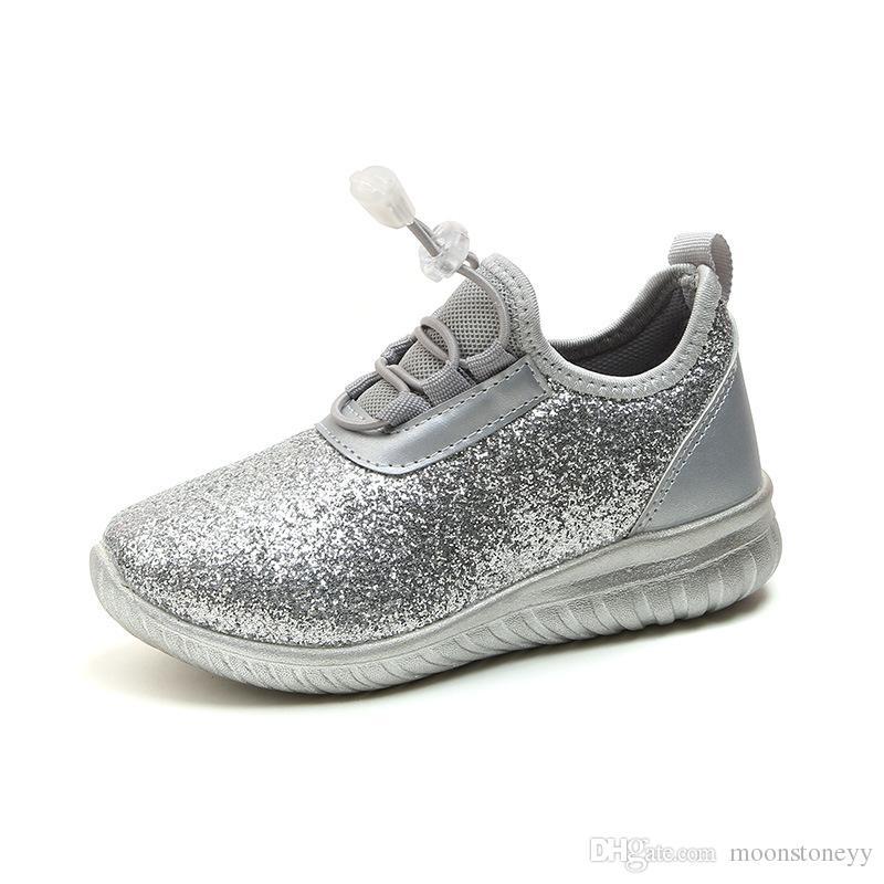 993ec3bcee6 Compre Shining Sapatos Infantis Sapatilhas Menina Rosa Para Adolescentes  Meninas Princesa Sapatos De Prata Calçados Infantis Moda Infantil Sapatos  De ...