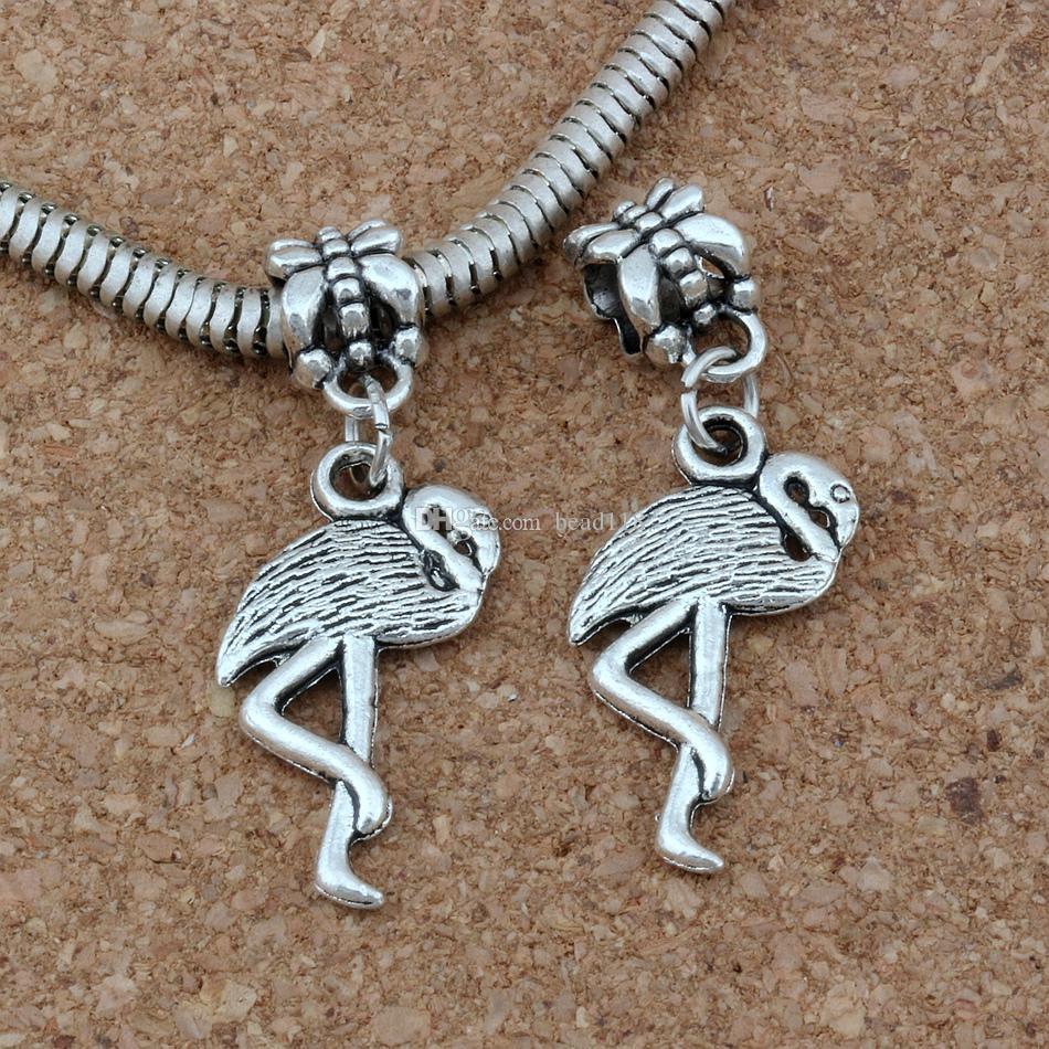 100 pz / lotto Ciondola Argento Antico Flamingo Crane Fascino Big Hole Beads Fit Braccialetto di Fascino Europeo Gioielli 12x35mm A-272a