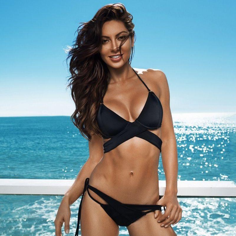 037120d07d5de 2019 Sexy Black Cross Bandage Push Up Bikini Set Halter Swimwear Underwire  Bikinis Women Swimsuit Beachwear Swim Bathing Suit Brazilian Bikini From ...