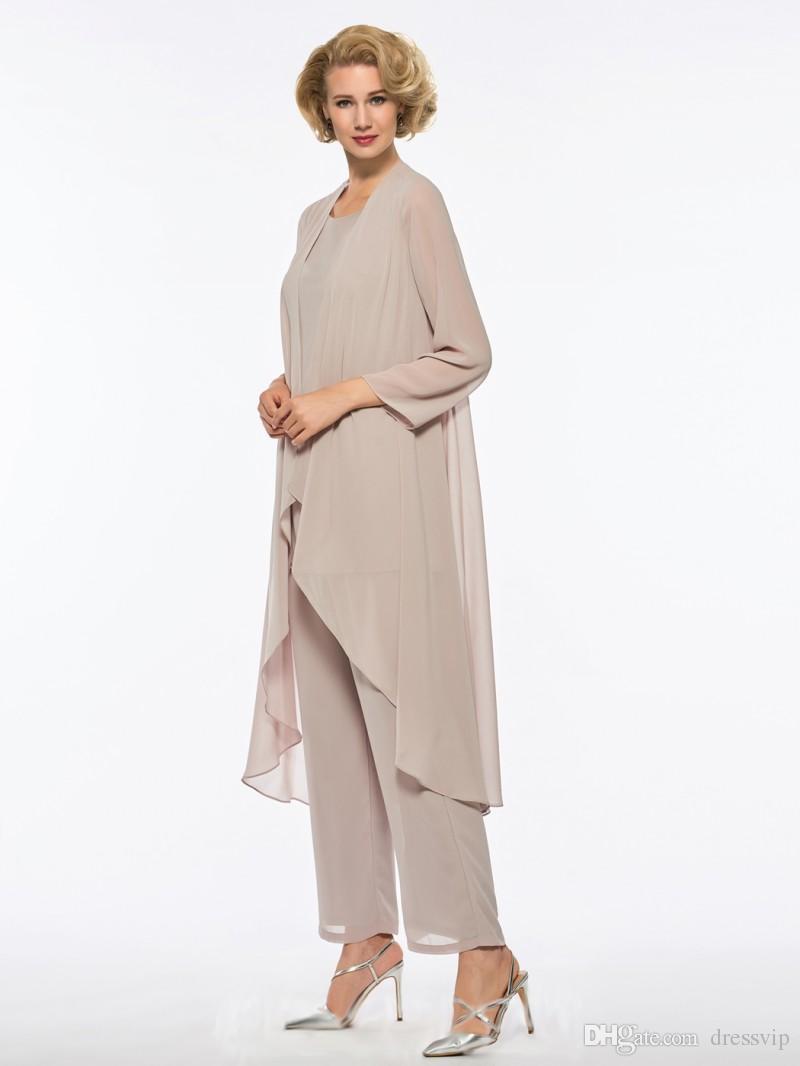 Artı Boyutu Anne Gelin Pant Suit 3 Parça Şifon Plaj Gelinlik için annenin Elbise Uzun Kollu Ucuz Anneler Örgün Önlük