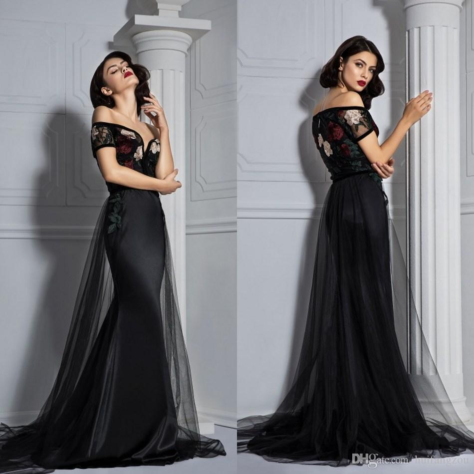 a39de3cbb2 Fancy Mermaid Prom Dresses Custom Made Off Shoulder Embroidery Long Evening  Gowns With Top Quality Formal Ceremony Party Dresses Knee Length Prom  Dresses ...