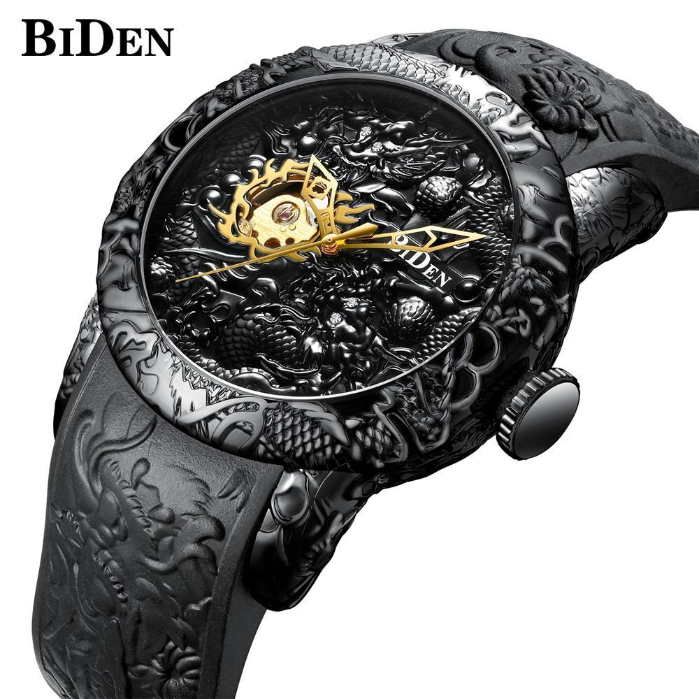 2a8c6451981 Compre BIDEN Top Marca De Luxo Relógio Mecânico Automático Dos Homens Auto Vento  Relógios De Pulso Para Homens À Prova D  Água Mecânica Relógio De Pulso ...