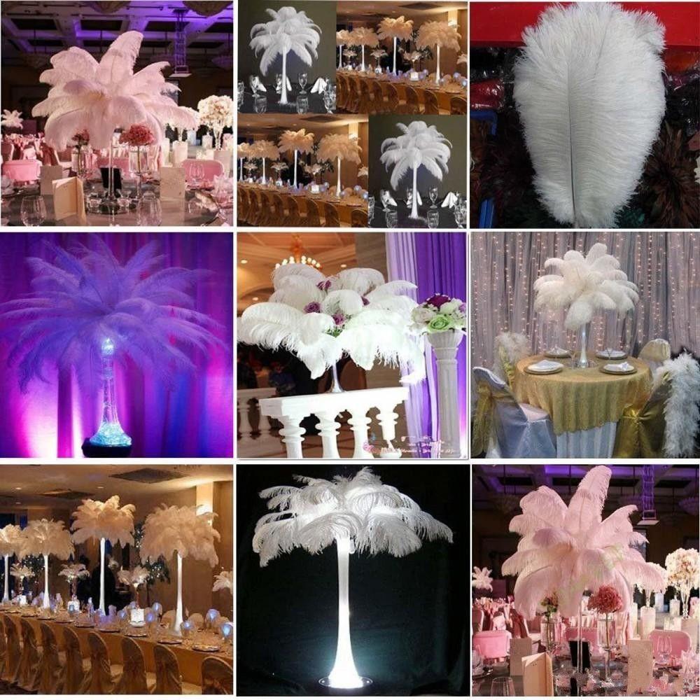 100 шт. За лот 10-12 дюймов белый страус перо шлейф товары для рукоделия свадьба стол центральные украшения бесплатная доставка
