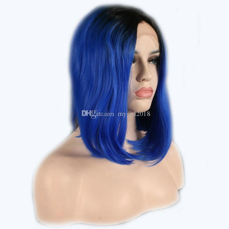 Short Bob Dark Root Blue Wig Women's Fashion Top Quality Front Lace Heat Resistant Synthetic Ombre Black to Blue Hair Wigs for Wom