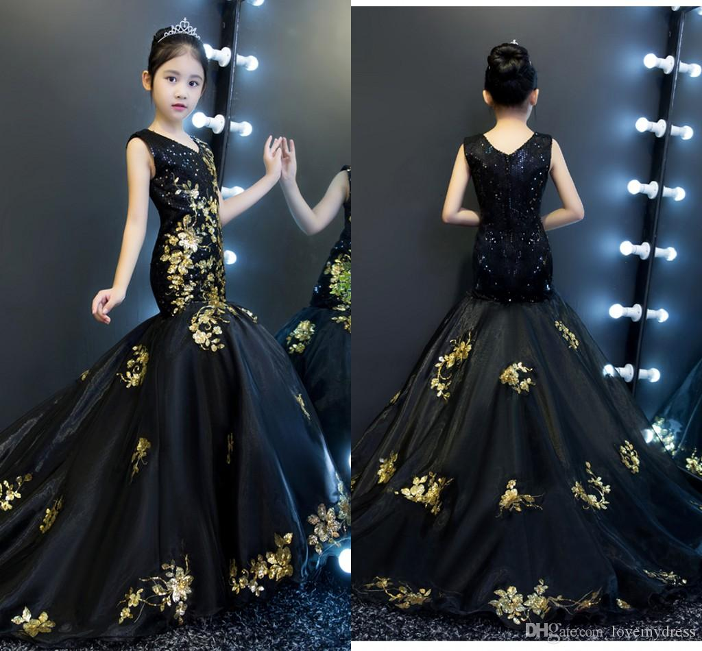 Gold And Black Mermaid Girls Pageant Dresses 2019 V Neck V Back Sequined  Tulle Toddler Party Dress Special Occasion Dresses Kids Flower Girl Glitz  Beauty ... c3b7fe4cffb4