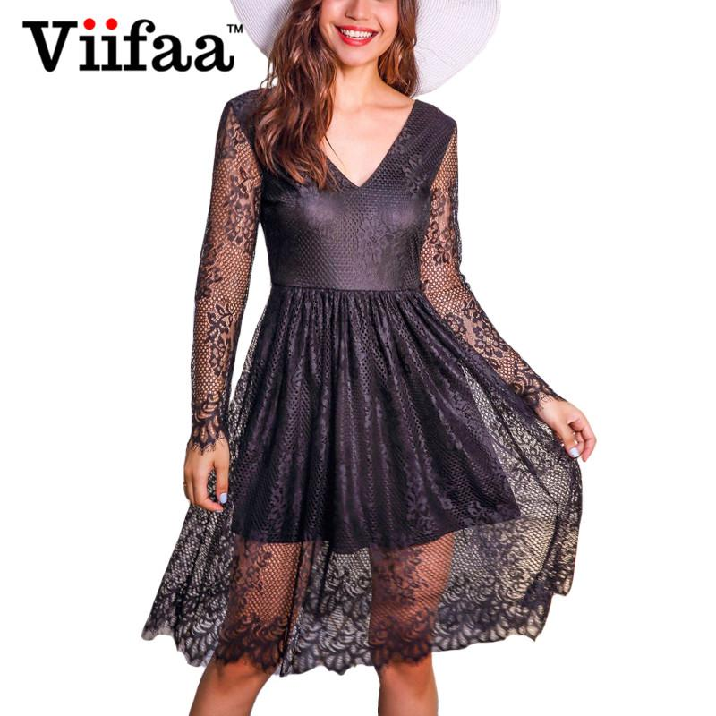 bac019e1717 2019 Viifaa Elegant V Neck Lace Vintage Pleated Dress Women Long Sleeve  Black Dress Backless Sexy Evening Party Dresses From Honey111