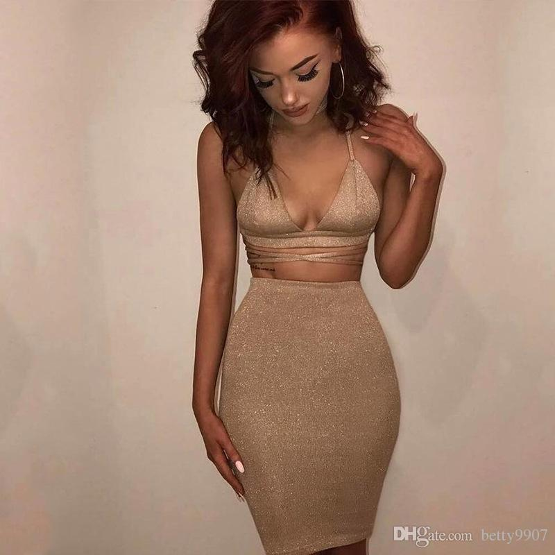120811d3fb36 2019 Women Clothes Two Piece Outfits Bandage Bodycon Dresses Sexy Sparkly  Halter Deep V Neck Lace Up Crop Top Set 2018 Summer Party Clothing From  Betty9907, ...