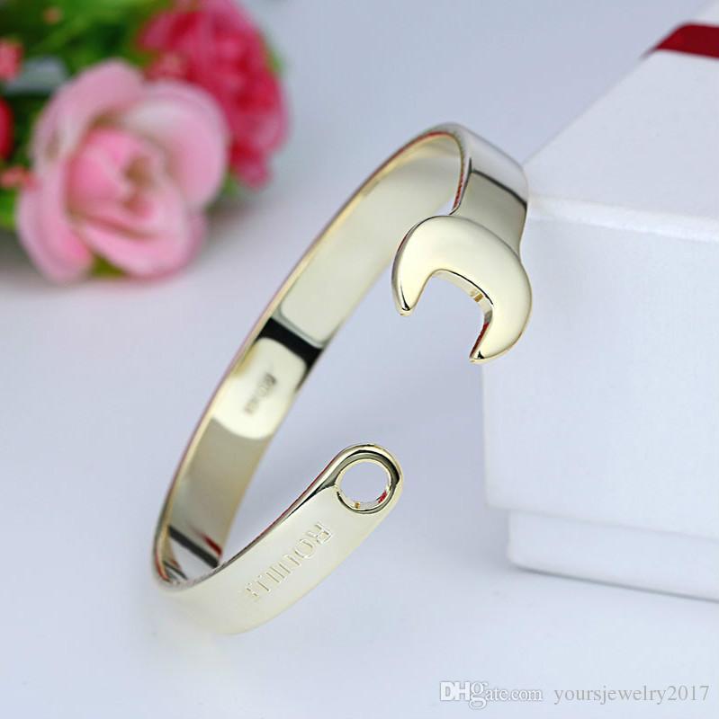 Anahtarı Şekilli Manşet Bilezikler Unisex Ayarlanabilir Açık Bakır Bilezikler Altın Gümüş Gül Altın Siyah Spanner Bilezik