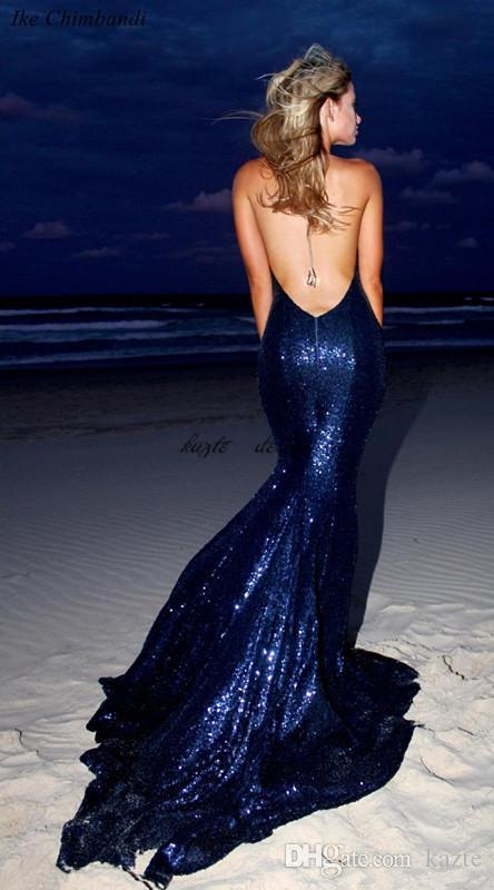Navy Blue Bling Sequined Prom Dresses Halter Neck Backless Evening Gowns Sweep Train Cheap Party Dress