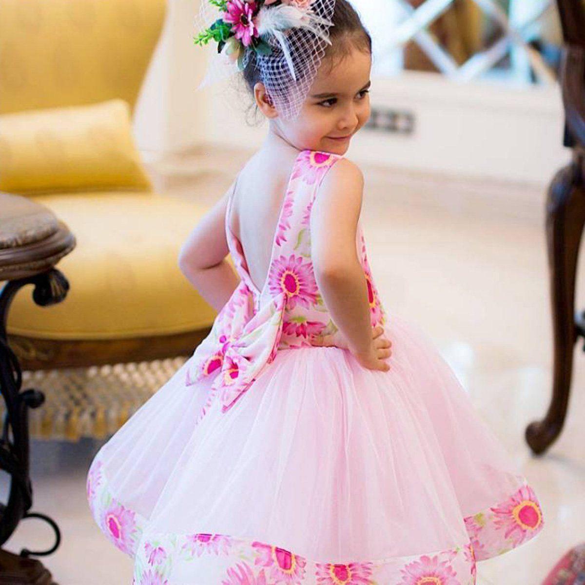 Compre Vestido De Princesa Baby Kid Girls Floral Wedding Party ...