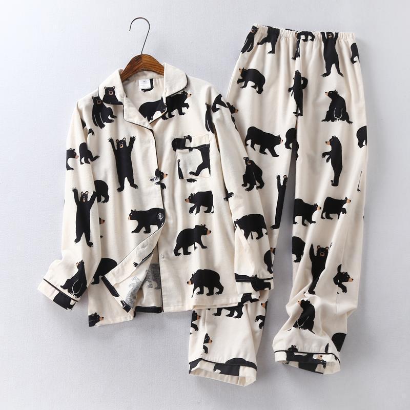 Купить Оптом Симпатичный Белый Медведь 100% Щеткой Хлопка Женщин Пижама  Устанавливает Осень Повседневная Мода Пижамы Женщины Homewear Sexy Pijamas  Mujer ... 2333c5d4450a1