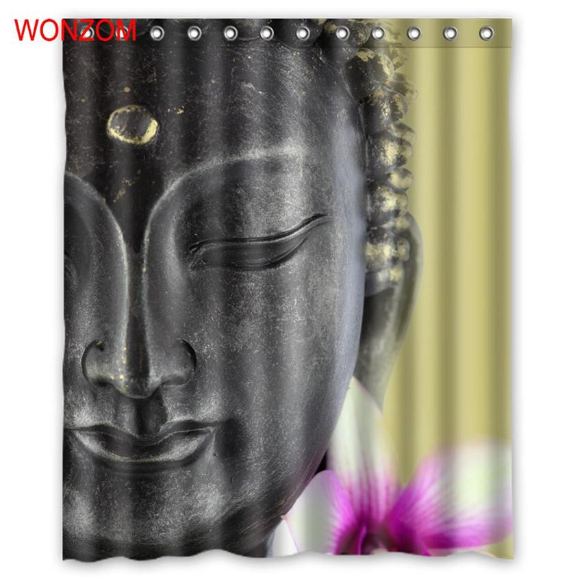 2019 WONZOM Buddha Shower Curtains With 12 Hooks For Bathroom Decor Modern Bath Waterproof Curtain 2017 New Accessories From Williem