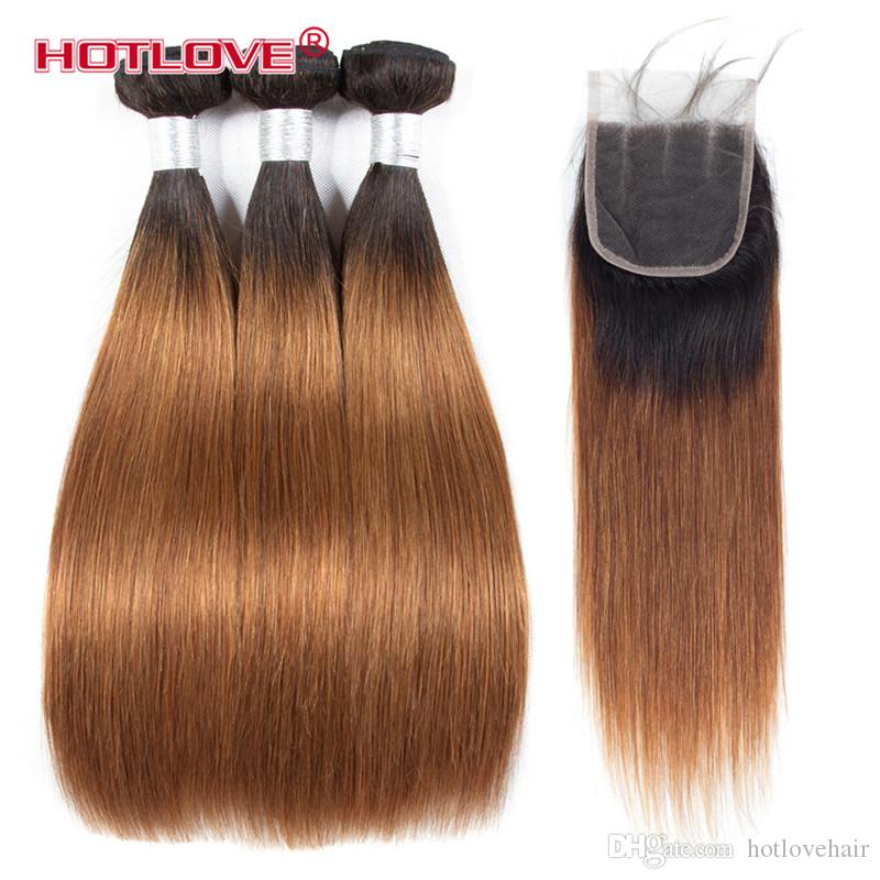 Brazilian Straight Hair Human Hair Weave Bundles with Closure Ombre Two Tone Pre-Coloed Honey Blonde Burgundy Red Brown Hotlove