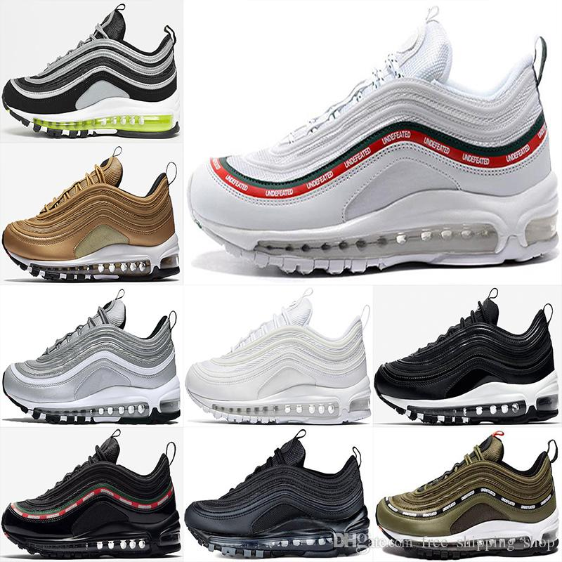 outlet new free shipping 2014 new 2018 Newest AAA+ 97 Running shoes Undefeated x OG UNDFTD Metallic Gold Silver Bullet Triple white black green Men women Sport Sneaker shoes for sale q4EVY