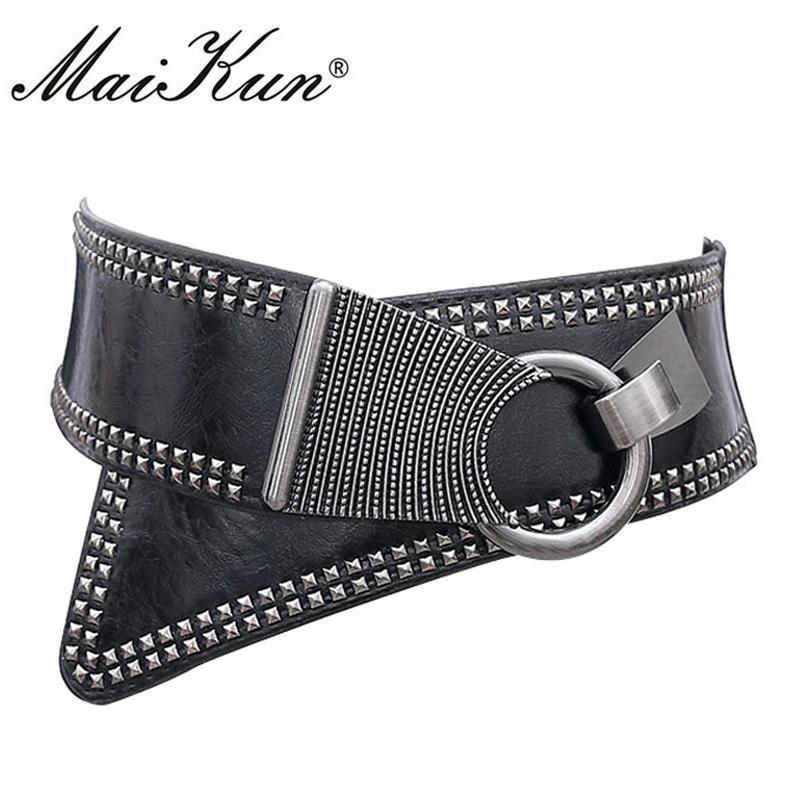 Compre 2017 Moda Punk Rocker Cinturones Anchos Para Las Mujeres Elásticas  Ancho Estilo Europeo Mujeres Cinturones Metal Redondo Hebilla A  19.0 Del  ... db43f100ed71