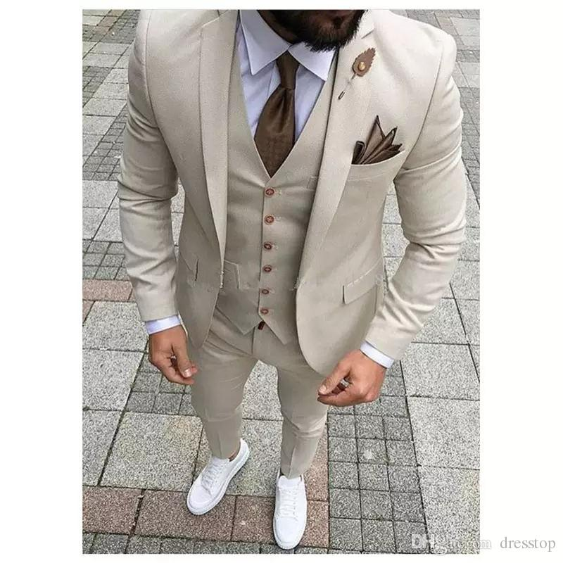 b68fa96d7d0 2018 Latest Coat Pant Designs Beige Men Suit Prom Tuxedo Slim Fit Groom  Wedding Suits For Men Custom Blazer Terno Masuclino White Tux Suit Black  And White ...