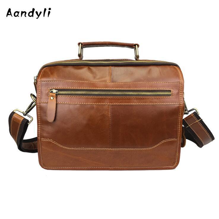 0c24b9d54b60 Genuine leather 2018 Handbag Multi Pocket large capaci crossbody bag single  shoulder laptop men bags