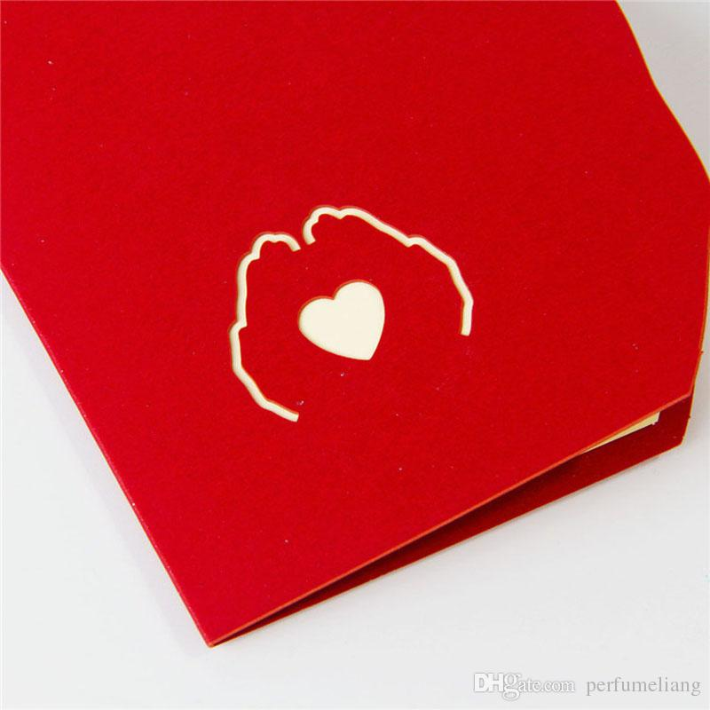 Valentines' Day Gift Love in the Hand 3D Pop Up Greeting Card Postcard Matching Envelope Laser Cut Post Card ZA5651