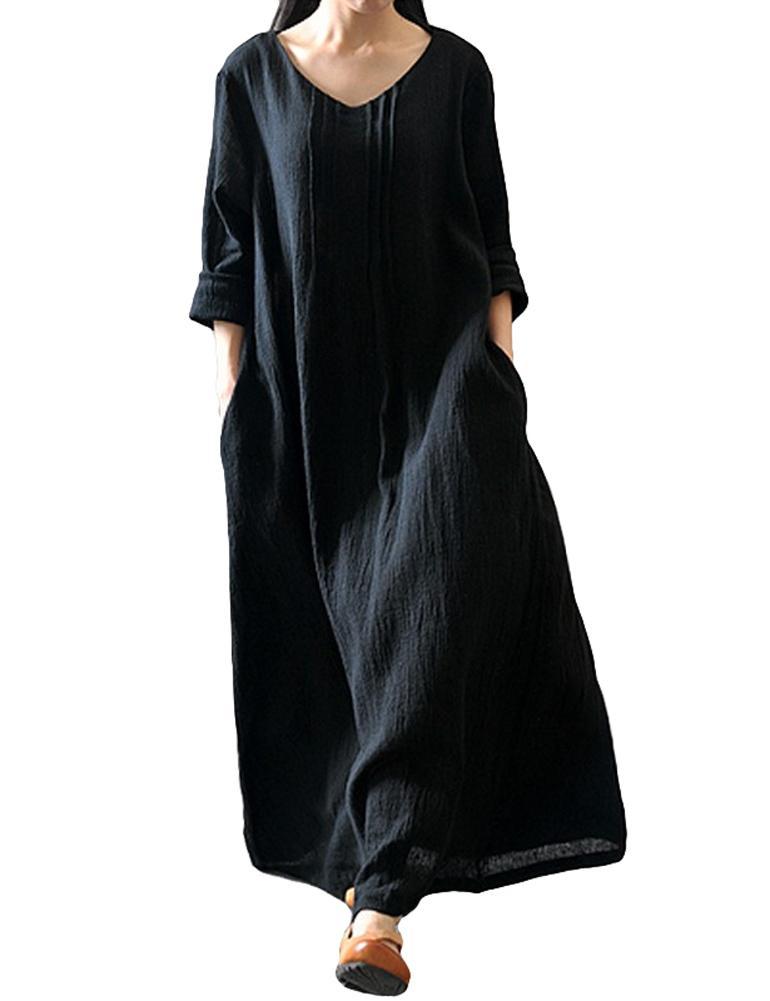 9763b53a85e Acheter 2019 Nouvelle Mode Automne Femmes Casual Robe Lâche Solide Col En V Manches  Longues En Coton Rétro Boho Longue Maxi Dress Noir   Violet   Rouge De ...