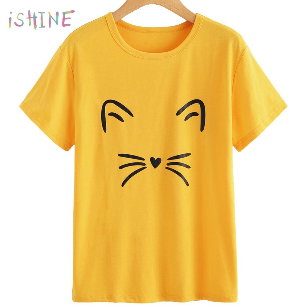 b099ad7c9 2018 Women T Shirt Short Sleeve Cute Cartoon Cat Print Girls T Shirt Hot  Sale Lovely Meow Print Cotton Tops Tshirt Female T Shirt Cool Design T  Shirts ...