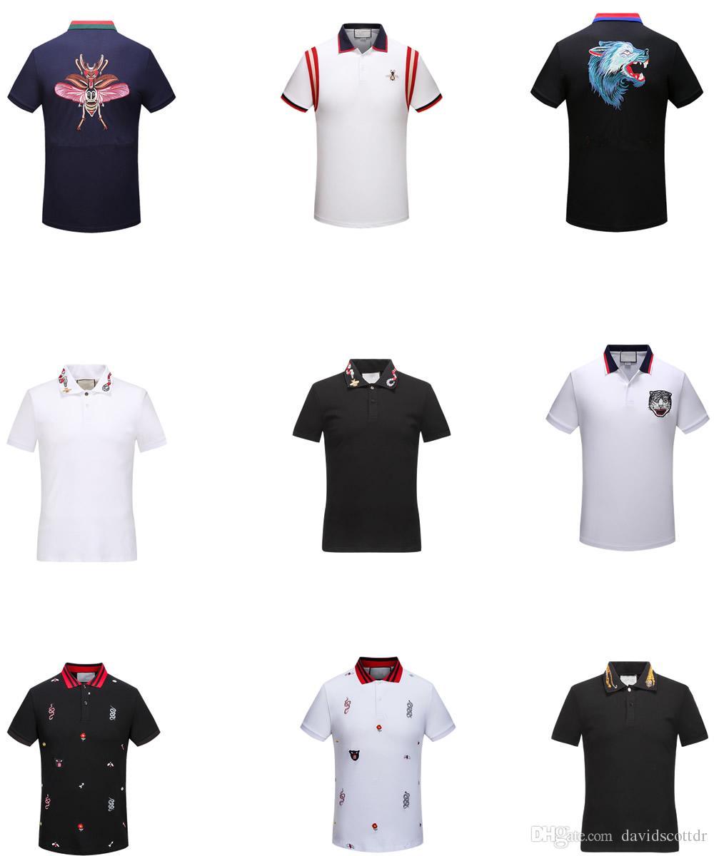 2019 New Designer Polo Shirt Men Polo Short Sleeves Print Snake