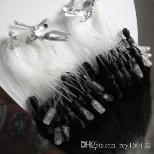 Омбре Т1Б / серый прямой Серебряный омбре микро-расширения человеческих волос петли машина связей шарика 100% человеческая микро - сделала Реми расширение волос