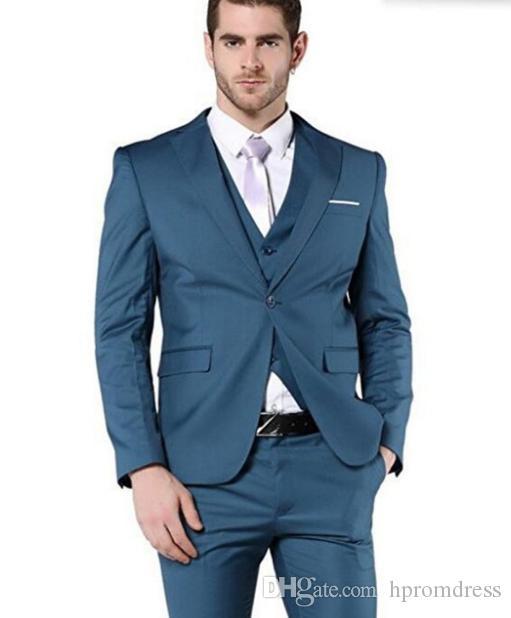 New Navy Formal Set Business Suits Prom Groomsmen Tuxedo Men\'S ...