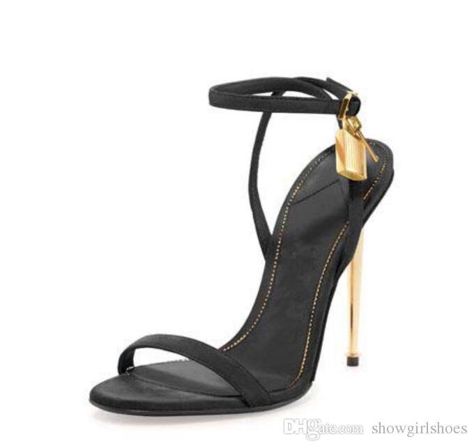 Sandali gladiatore in pelle oro argento 2018 con tacco alto Sandali gladiatore con cinturino alla caviglia