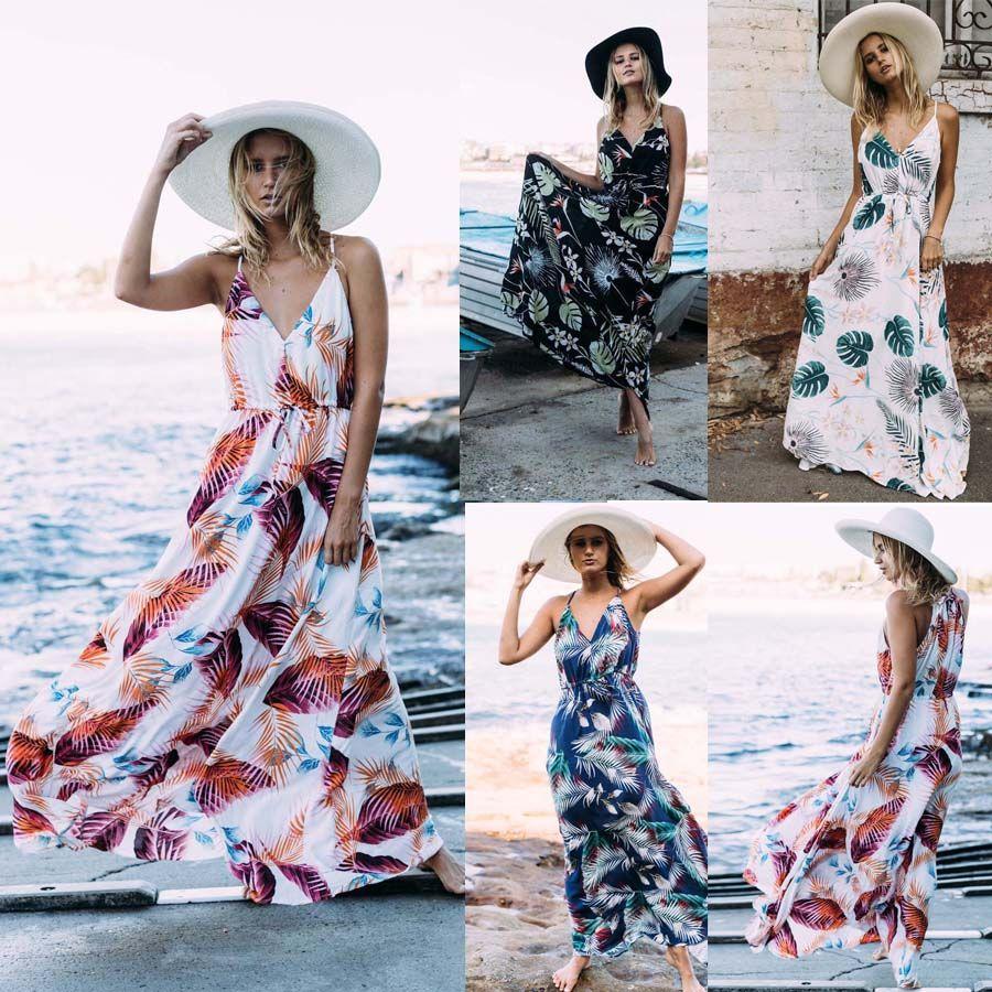 85912d115c7 Women Spaghetti Strap Sleeveless Boho Floral Long Maxi Dress Evening Party  Beach Dresses Summer Sundress Dress Designers Plus Size Maxi Dress From  Dress ch