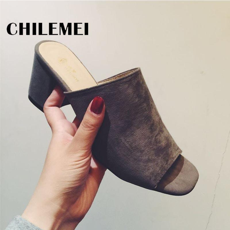 Fashion Female Slippers Suede Sandals Summer Shoes Women Mules Ladies Flip Flops High Heeled Slides Shoes alpargata Balck Grey
