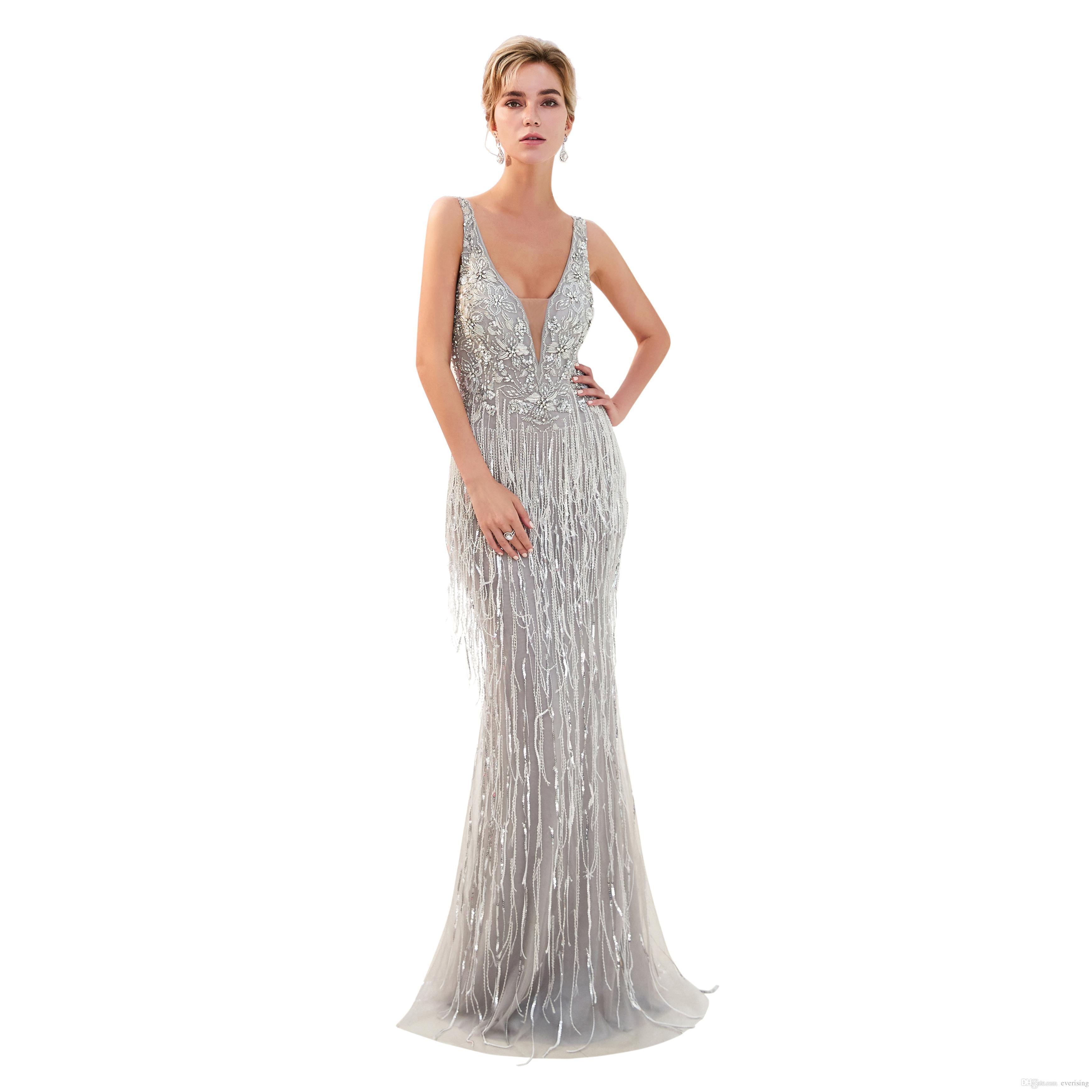 80bf93896e302 Satın Al 2019 Gri Abiye Boncuklu Akşam Elbise Kadın Parti Elbiseler V Yaka  Tüy Elbiseler Lüks Yeni Varış, $214.08 | DHgate.Com'da
