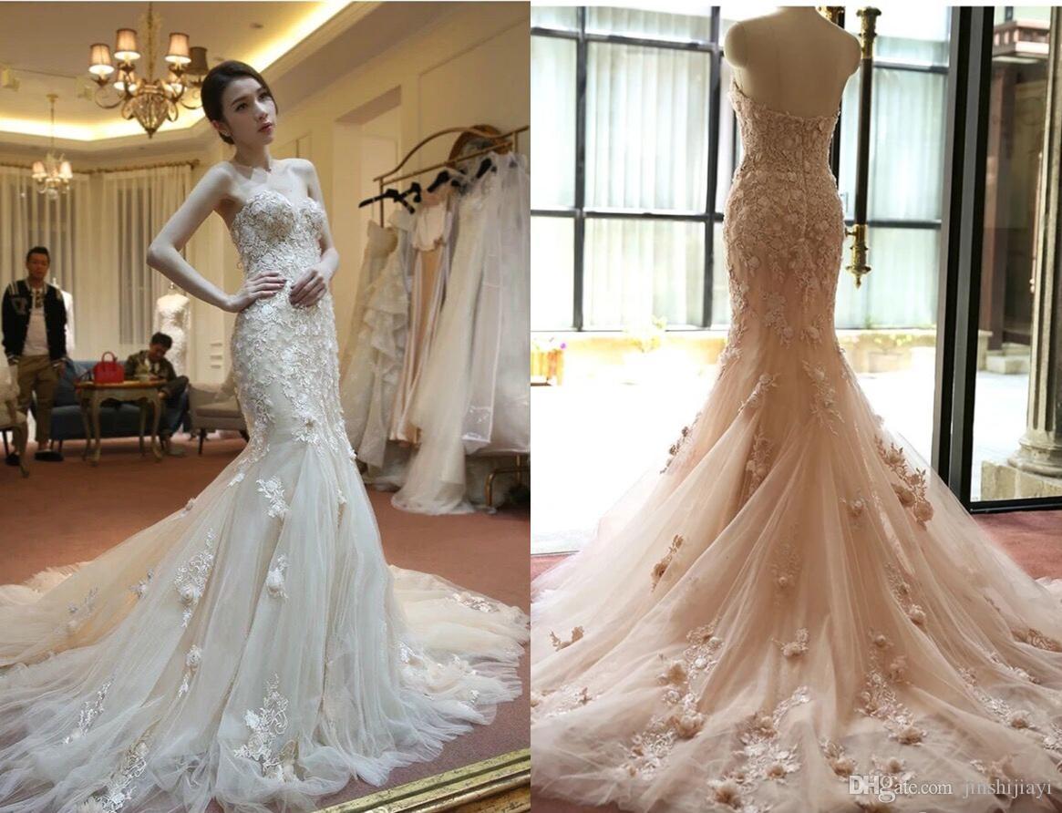 Großhandel 2018 Arabisch Spitze Meerjungfrau Hochzeitskleid ...