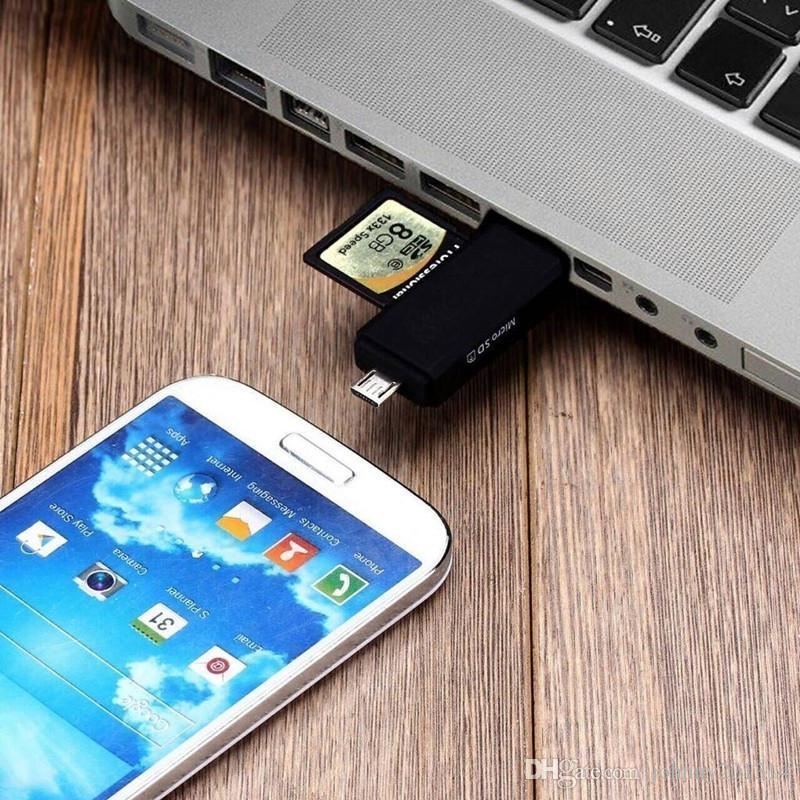 3 في 1 USB OTG قارئ بطاقة محرك فلاش عالي السرعة USB2.0 العالمي وتغ TF / بطاقة SD لالروبوت الهاتف الحاسوب تمديد الرؤوس
