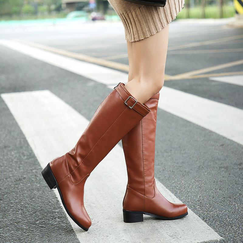 3a3be90d681 KEBEIORITY 2018 Women Winter Boots Female Low Heel Black Brown Knee High  Boots For Women Back Zipper Martin PU Leather Cute Shoes Boots From  Rowback, ...