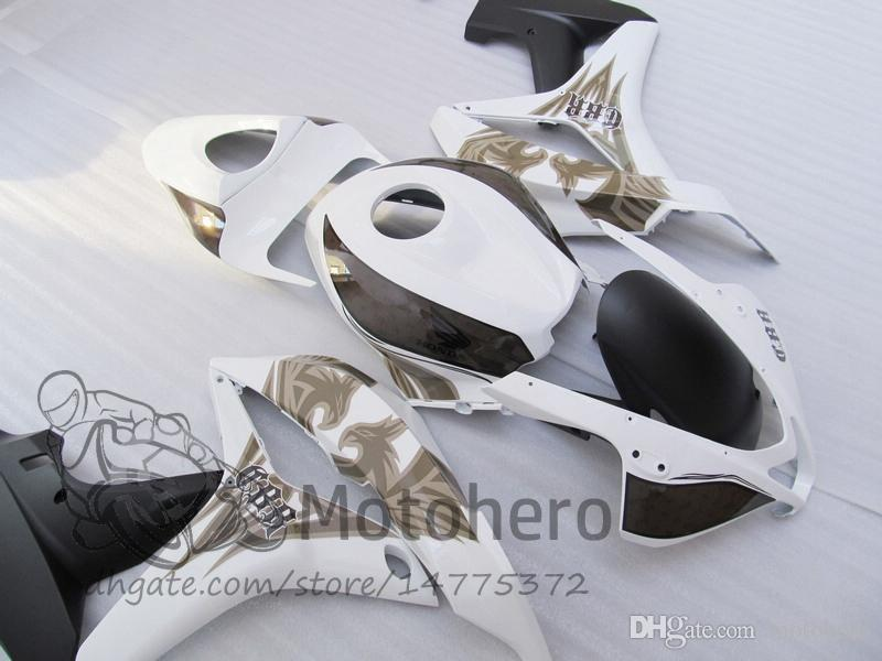 Nouveaux kits de carénage de moto ABS pour Honda 2007 2008 CBR600RR F5 07 08 carénages en plastique blanc Ensemble de carrosserie de moto blanc w2344