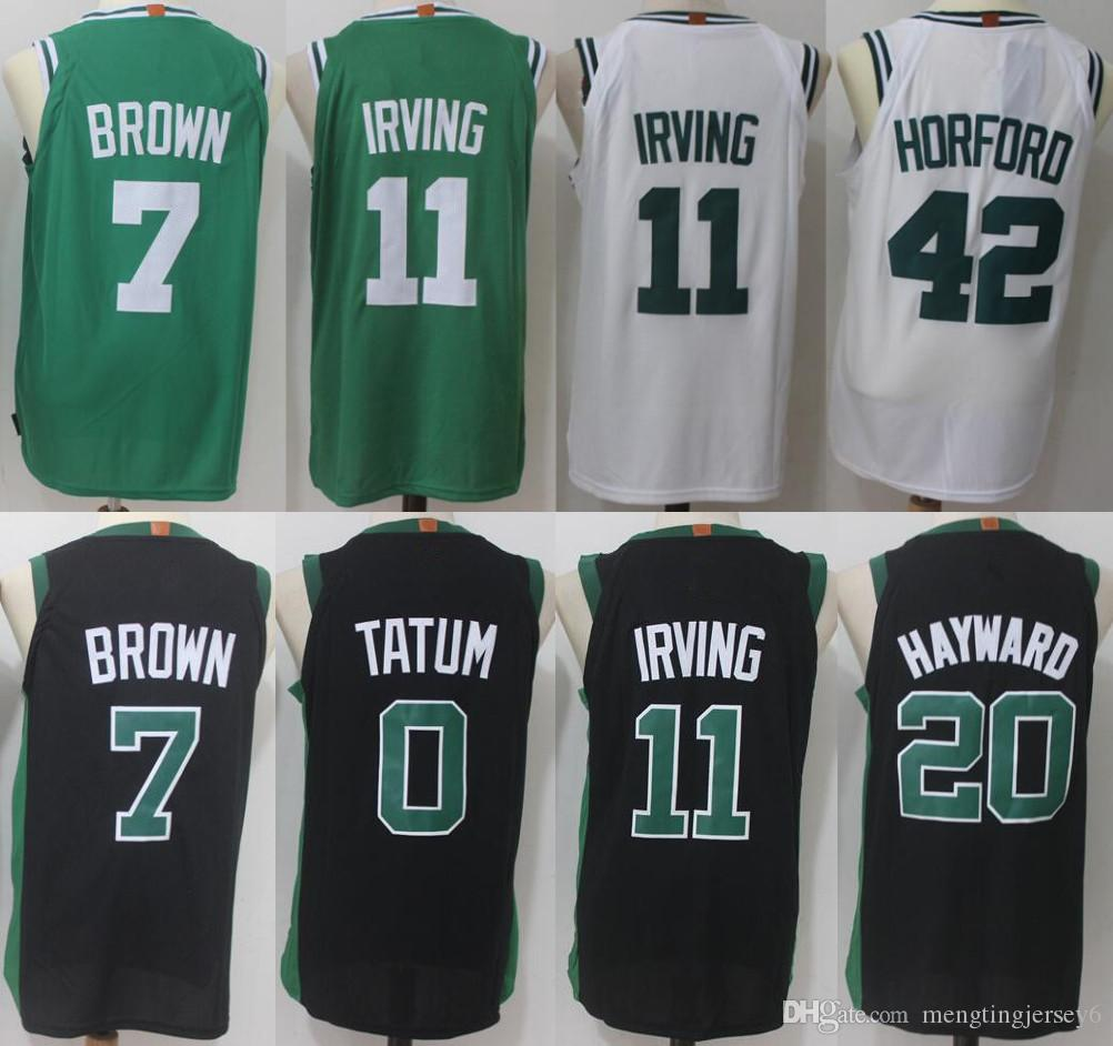 outlet store 2ad22 8791b Boston 11 Kyrie Irving Celtics 7 Jaylen Brown Jersey 0 Jayson Tatum 33  Larry Bird 20 Gordon Hayward 42 Al Horford Basketball Jerseys