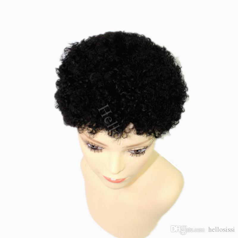 Short African American afro kinky curl Wigs natural black 100% brazilian Human Hair Glueless machine made none lace wig