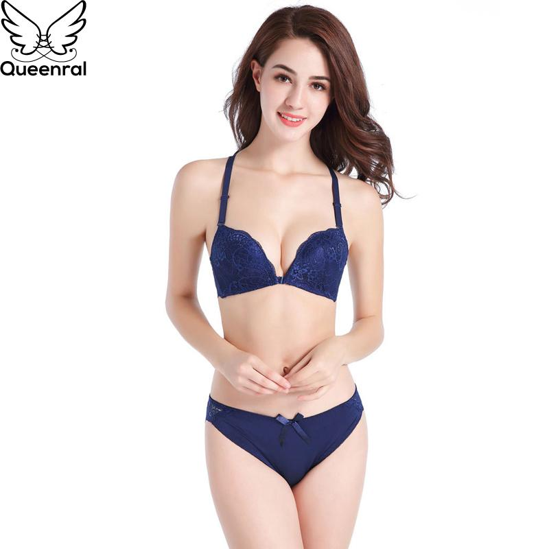 7791955aaed6 2019 Wholesale Push Up Bra Set Front Closure Underwear Set Women Lingerie  Sexy Lace Wire Free Bra Brief Sets 34B Nylon Floral From Liuyangfuzhuang