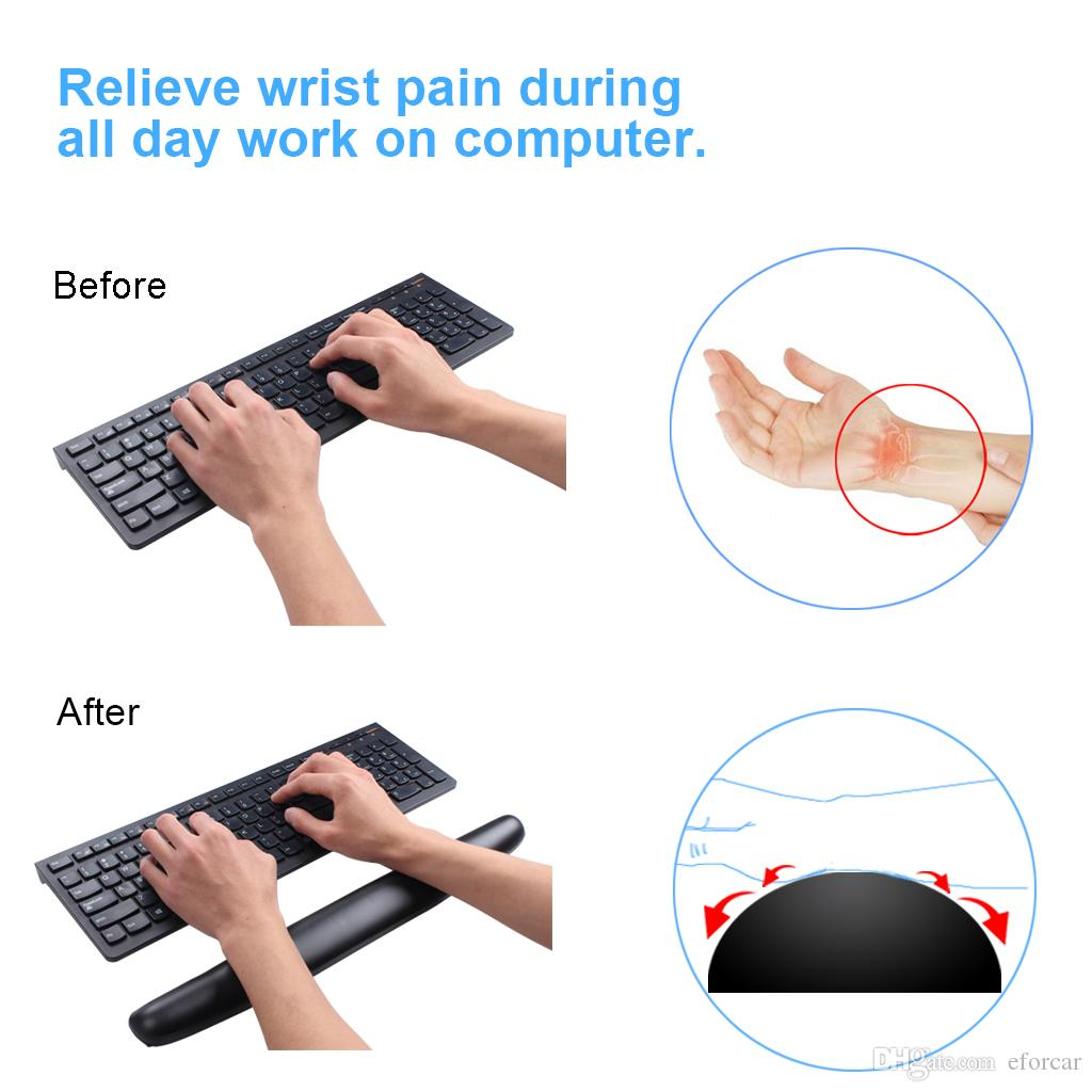 Keyboard Wrist Rest Pad Pu Leather Comfortable Non Slip For Office Computer Laptop Pain Relief For Long Hours Work Gaming