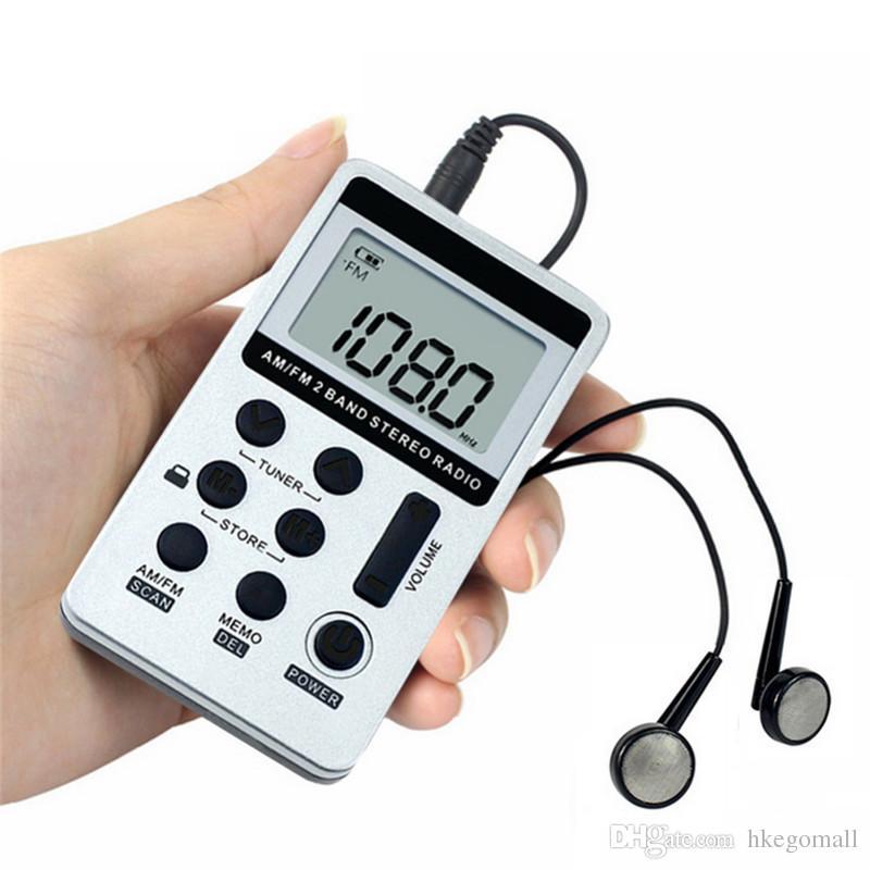 Nova JINSERTA Rádio Portátil FM / AM Digital Portátil Mini Receptor Com Recarregável Bateria Gravador de Rádio Fone de Ouvido + Cordão